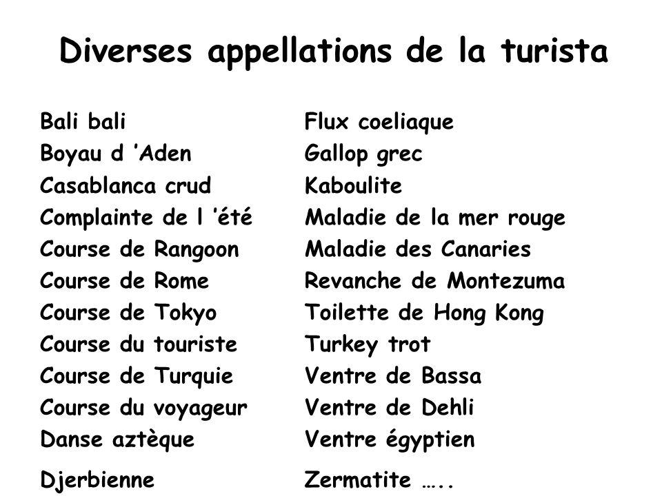 Diverses appellations de la turista