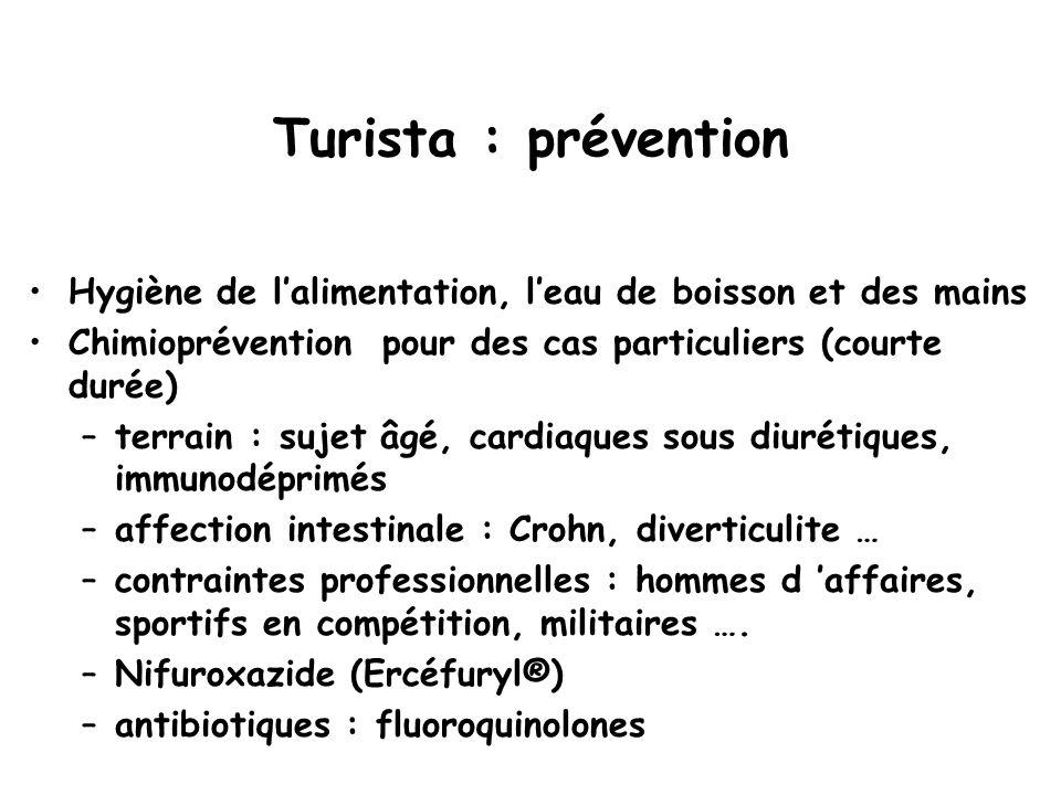 Turista : prévention Hygiène de l'alimentation, l'eau de boisson et des mains. Chimioprévention pour des cas particuliers (courte durée)