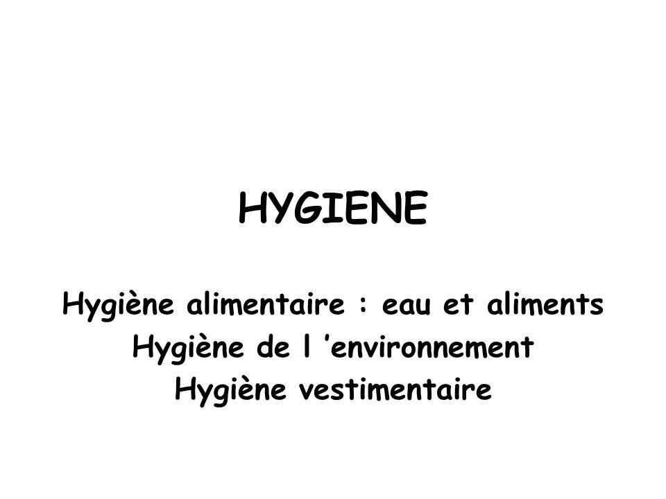 HYGIENE Hygiène alimentaire : eau et aliments