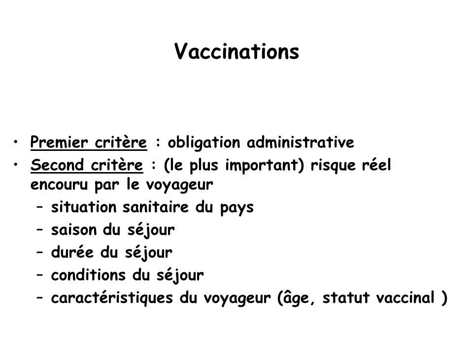 Vaccinations Premier critère : obligation administrative