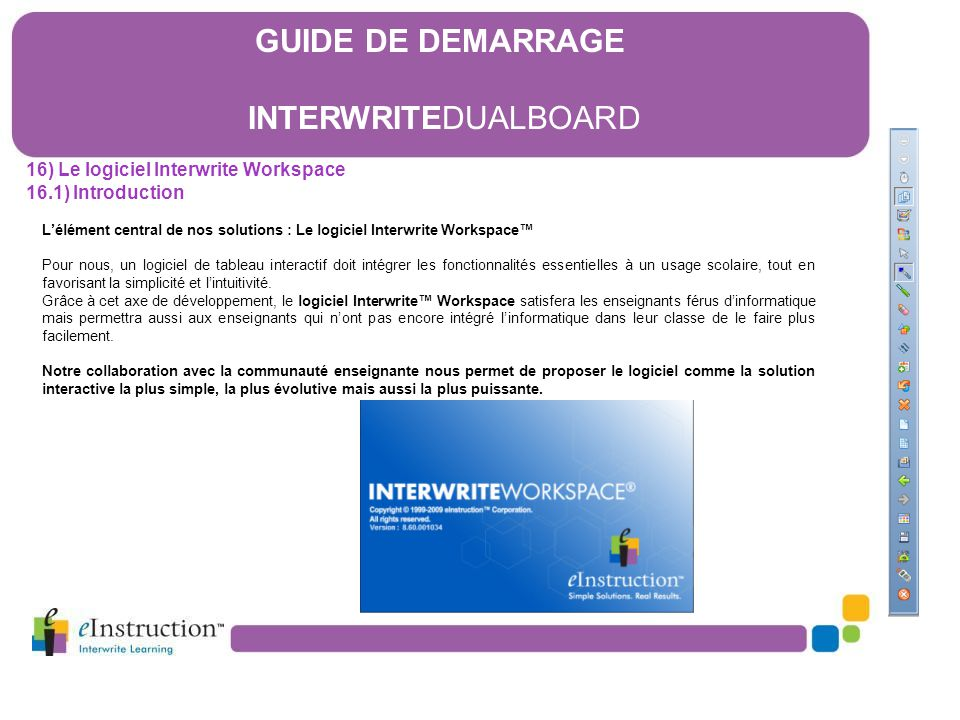 16) Le logiciel Interwrite Workspace 16.1) Introduction