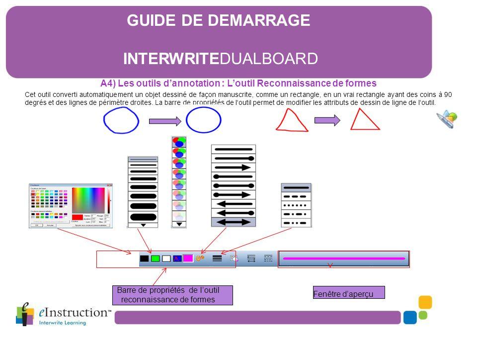 A4) Les outils d'annotation : L'outil Reconnaissance de formes