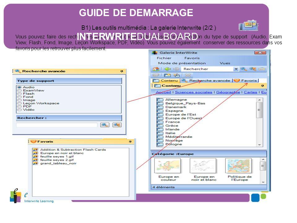B1) Les outils multimédia : La galerie Interwrite (2/2 )