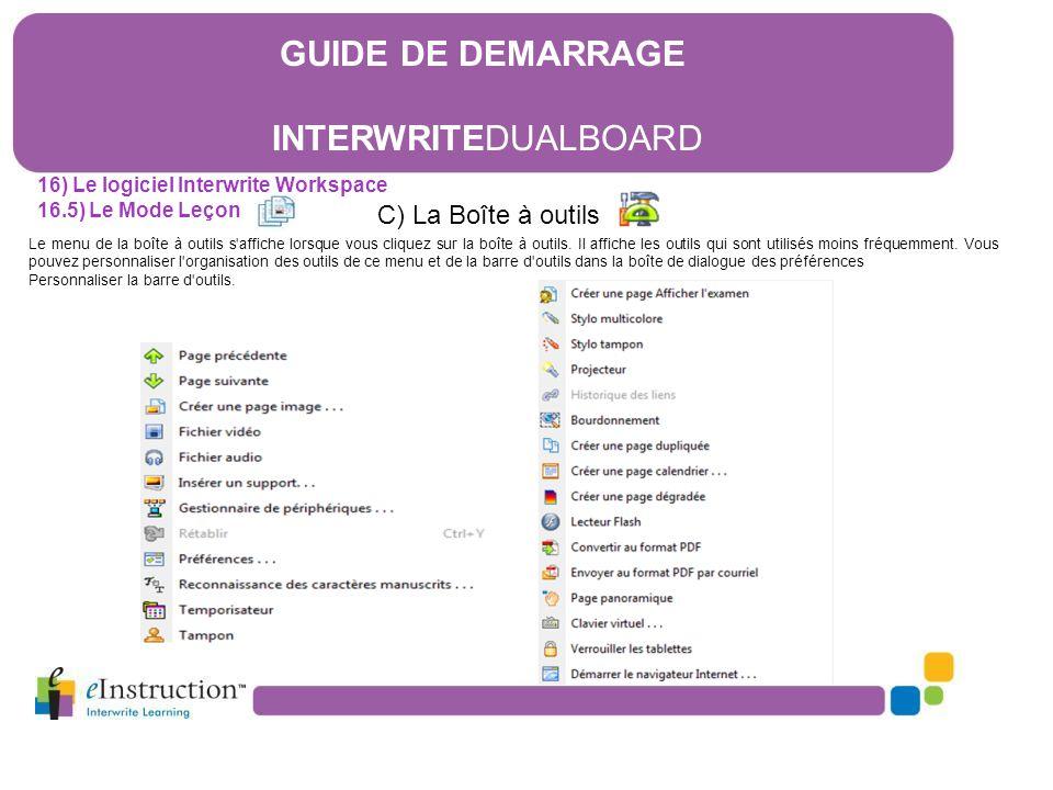 GUIDE DE DEMARRAGE INTERWRITEDUALBOARD C) La Boîte à outils