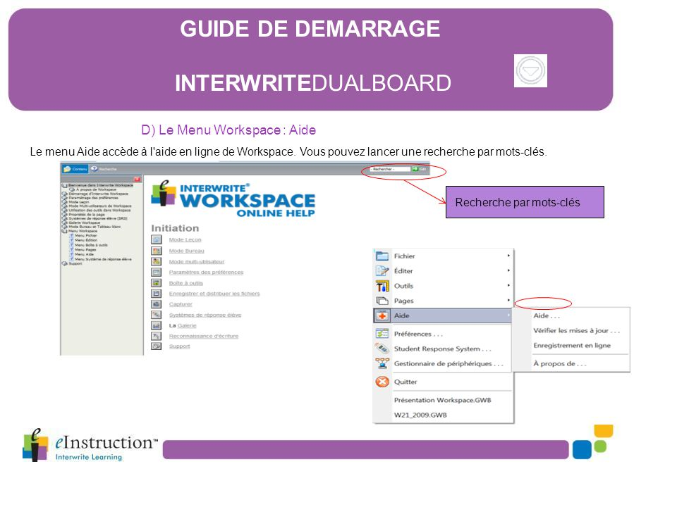 GUIDE DE DEMARRAGE INTERWRITEDUALBOARD D) Le Menu Workspace : Aide