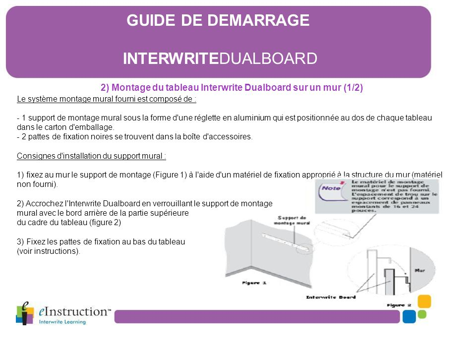 2) Montage du tableau Interwrite Dualboard sur un mur (1/2)