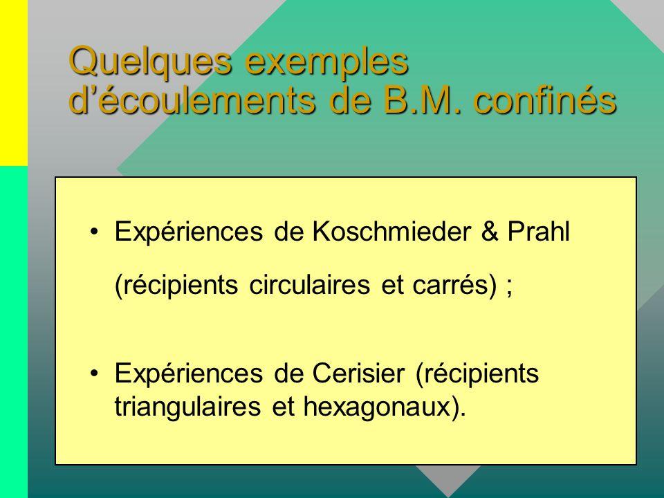 Quelques exemples d'écoulements de B.M. confinés