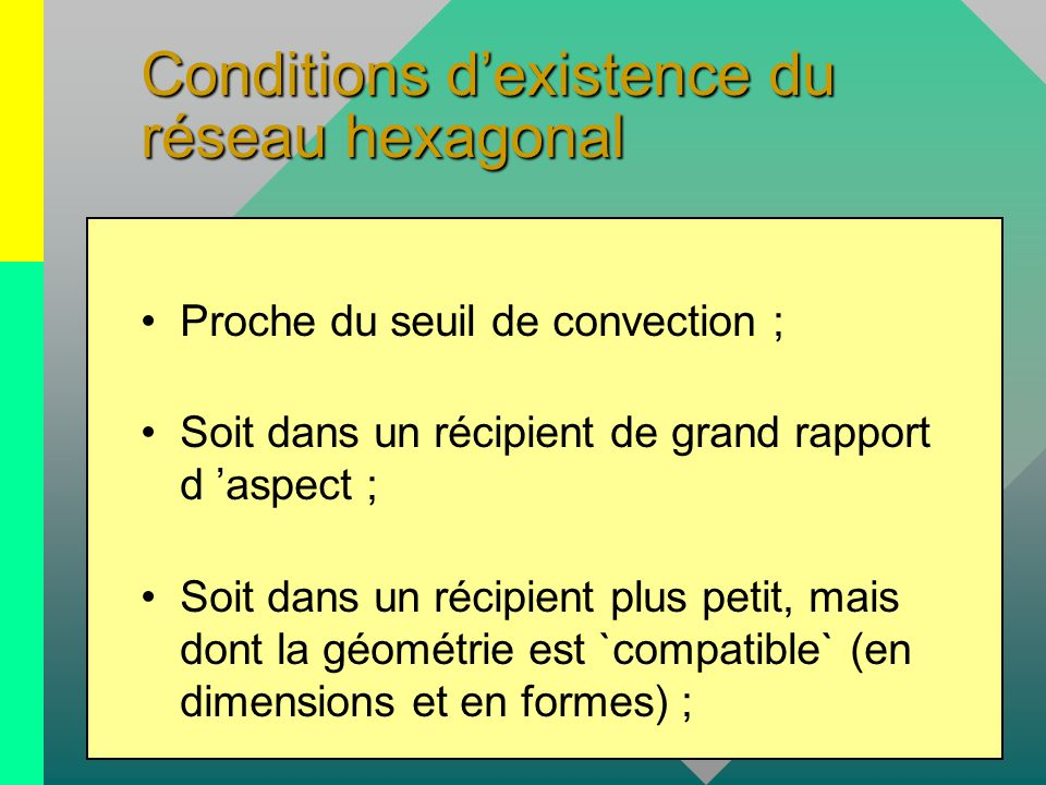 Conditions d'existence du réseau hexagonal