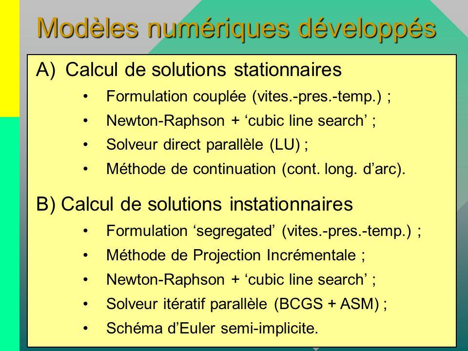 Modèles numériques développés