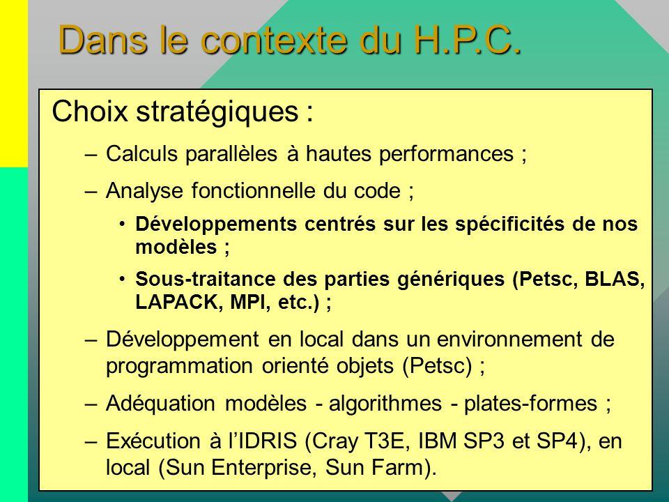 Dans le contexte du H.P.C. Choix stratégiques :