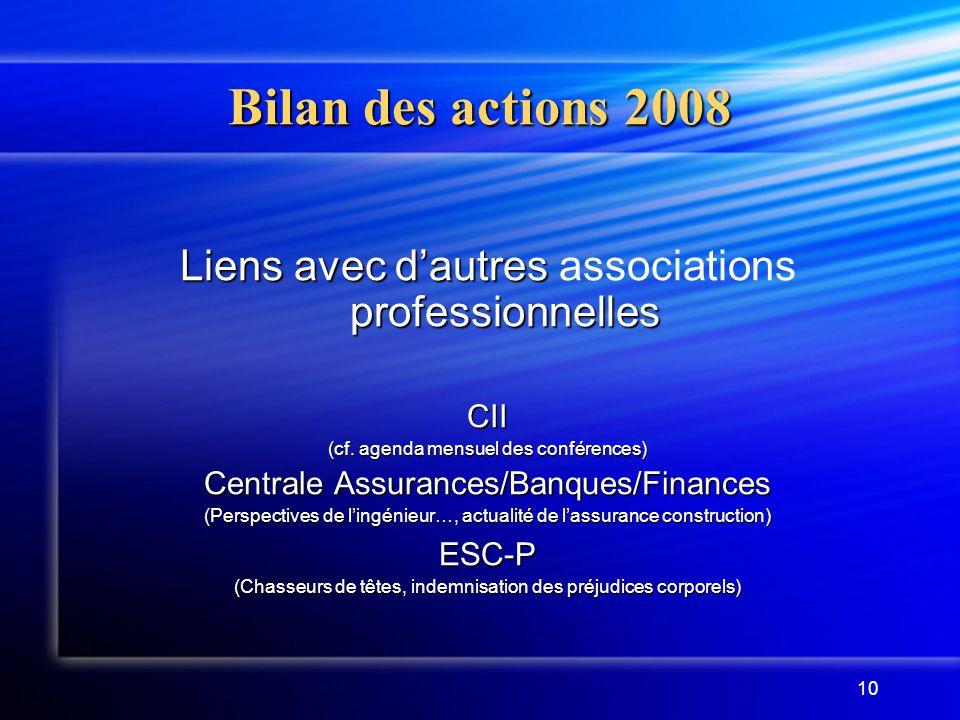 Bilan des actions 2008 Liens avec d'autres associations professionnelles. CII. (cf. agenda mensuel des conférences)