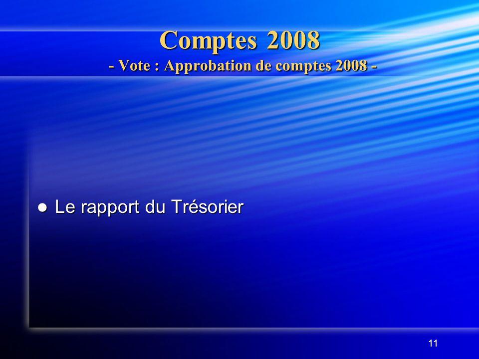 Comptes 2008 - Vote : Approbation de comptes 2008 -