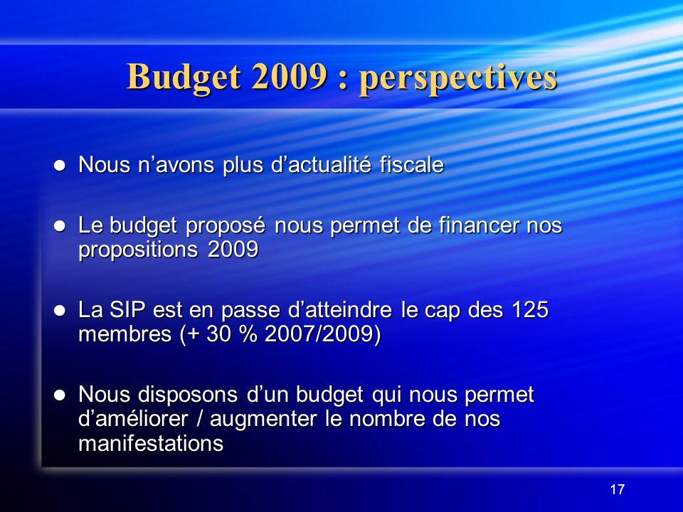 Budget 2009 : perspectives Nous n'avons plus d'actualité fiscale