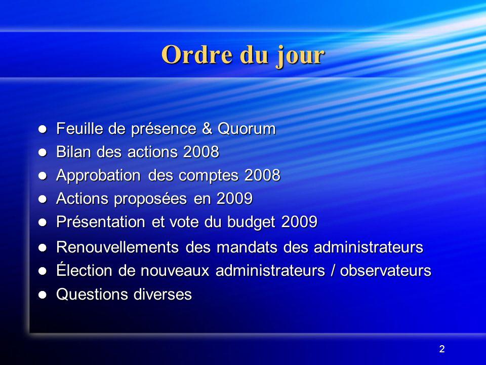 Ordre du jour Feuille de présence & Quorum Bilan des actions 2008