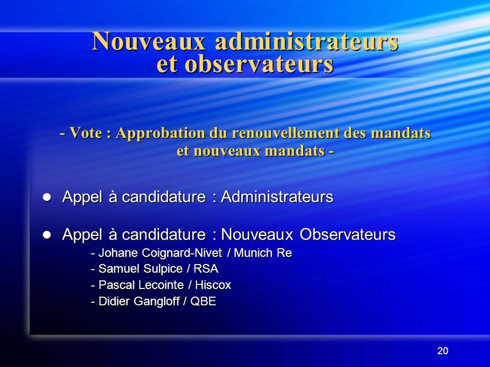 Nouveaux administrateurs et observateurs