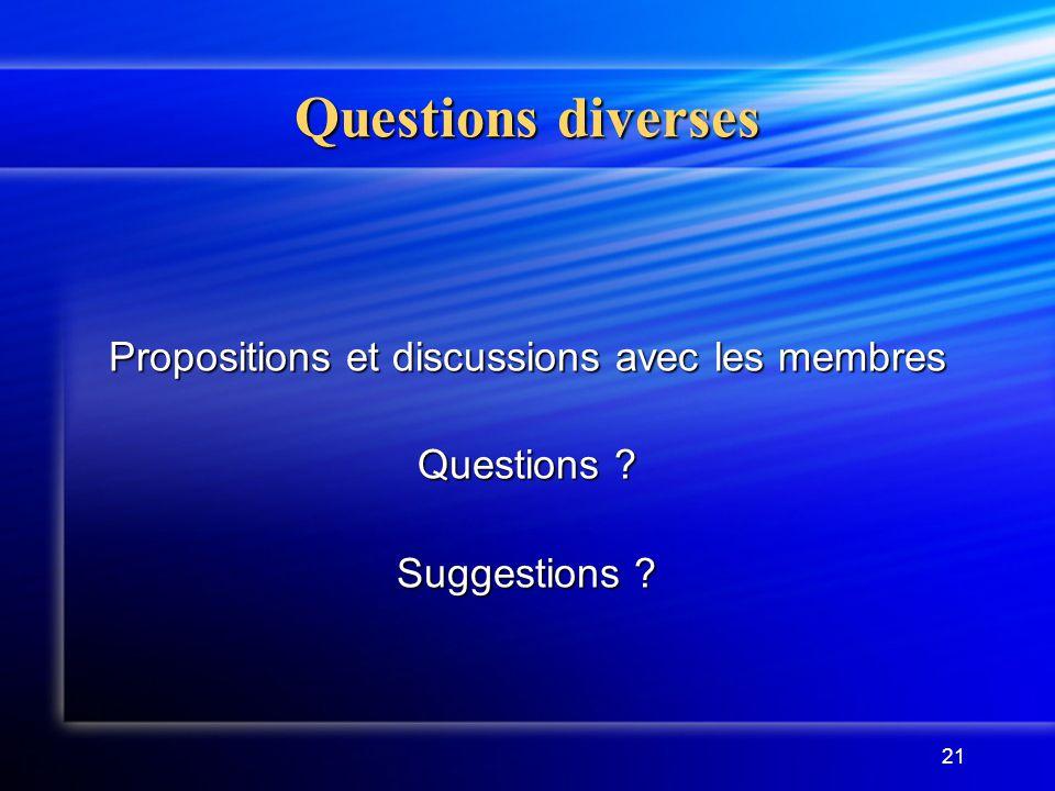 Propositions et discussions avec les membres