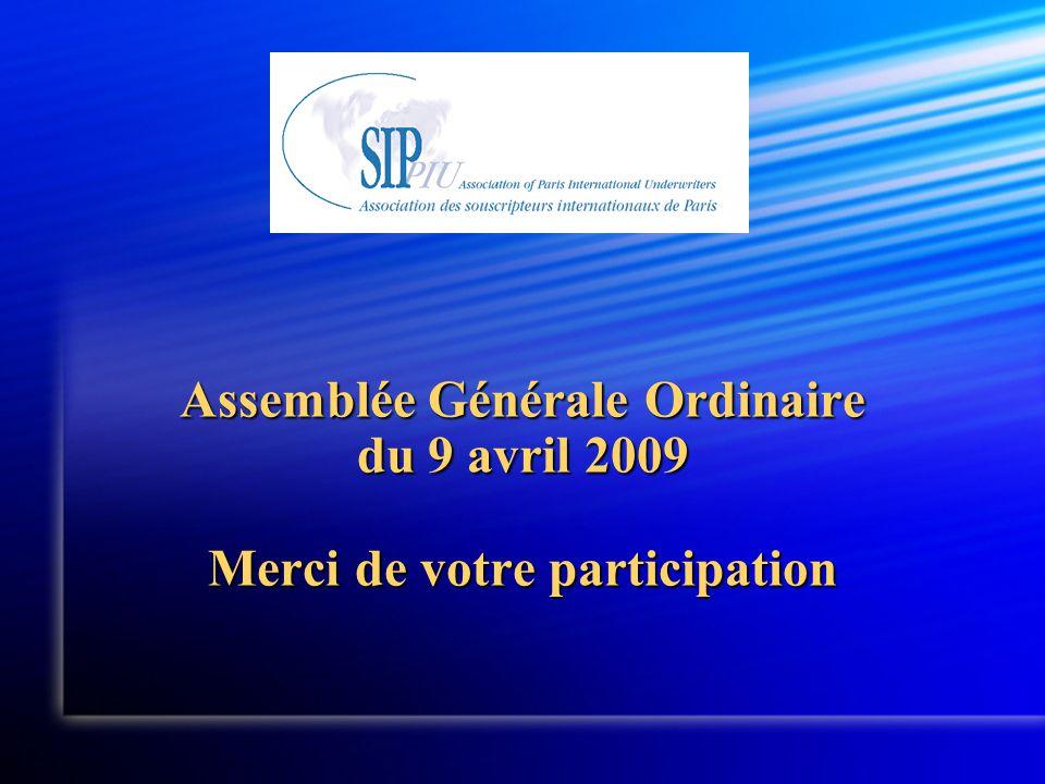 Assemblée Générale Ordinaire du 9 avril 2009 Merci de votre participation