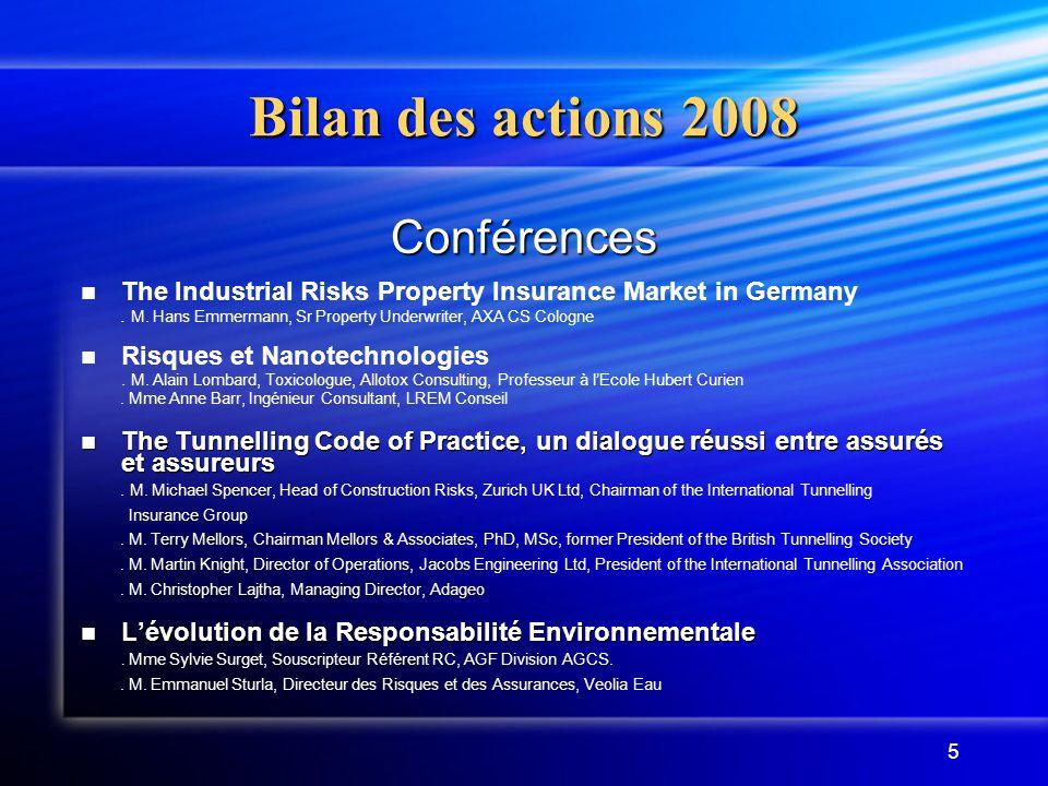 Bilan des actions 2008 Conférences