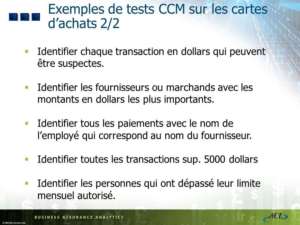 Exemples de tests CCM sur les cartes d'achats 2/2