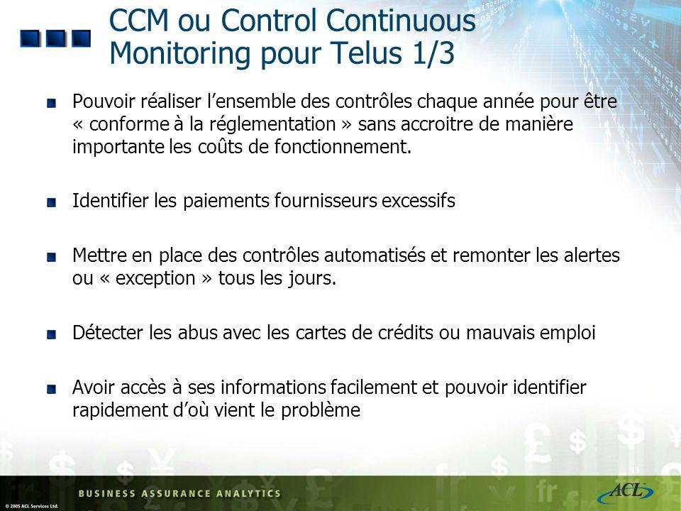 CCM ou Control Continuous Monitoring pour Telus 1/3