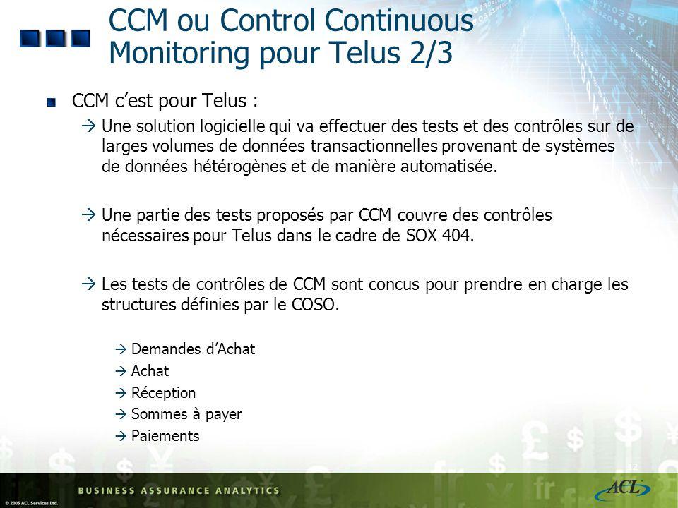 CCM ou Control Continuous Monitoring pour Telus 2/3