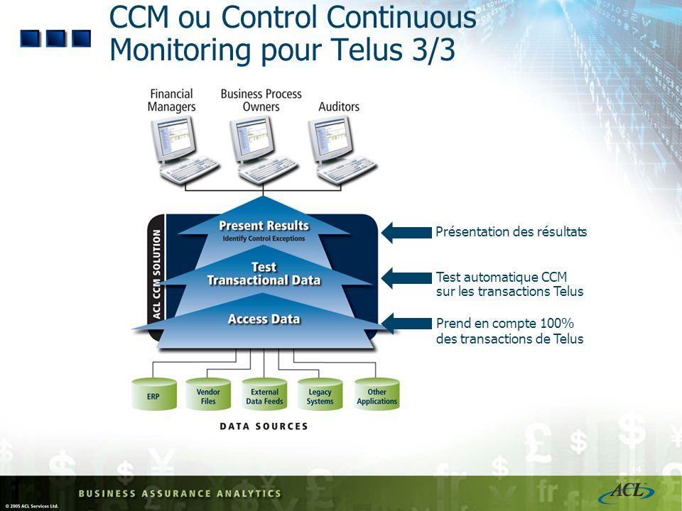 CCM ou Control Continuous Monitoring pour Telus 3/3