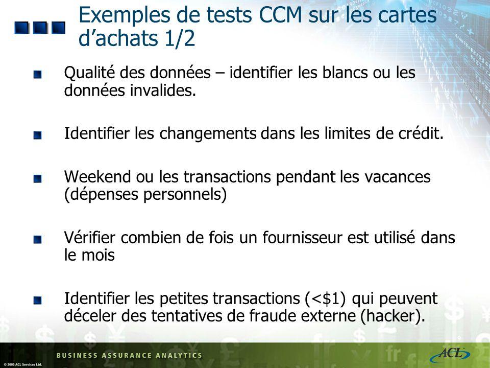 Exemples de tests CCM sur les cartes d'achats 1/2