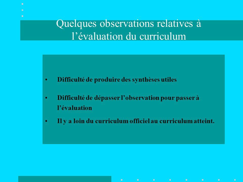 Quelques observations relatives à l'évaluation du curriculum