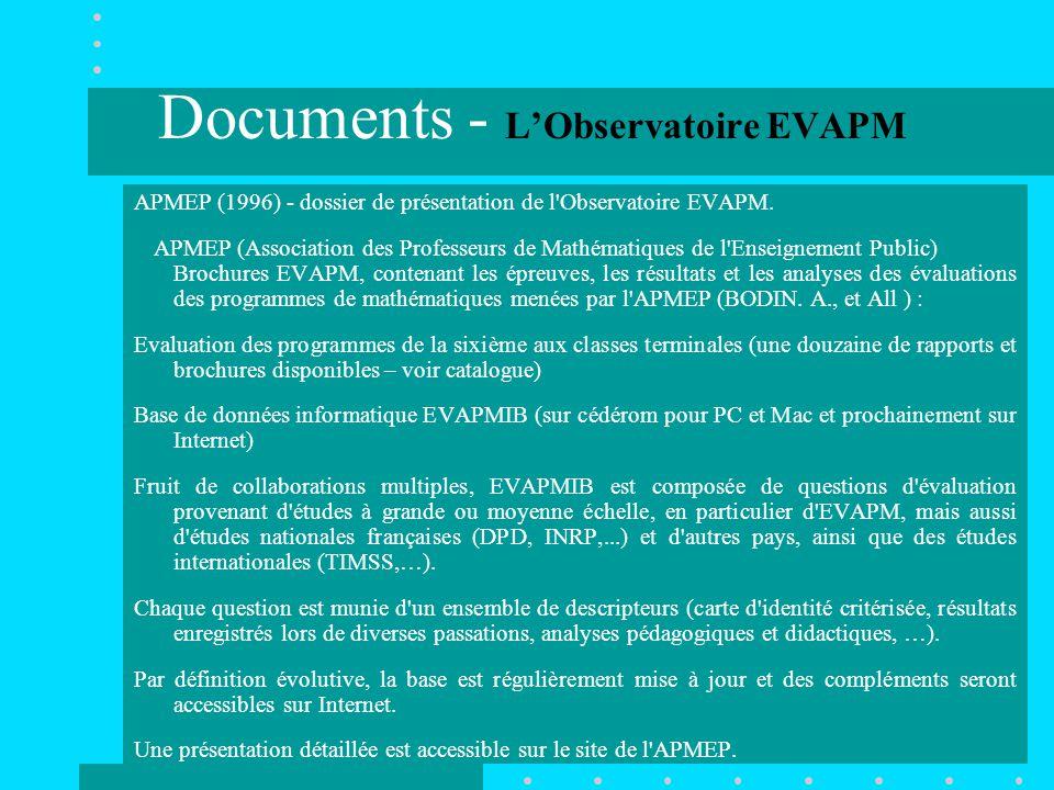Documents - L'Observatoire EVAPM