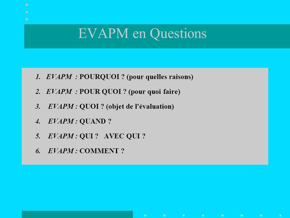 EVAPM en Questions 1. EVAPM : POURQUOI (pour quelles raisons)