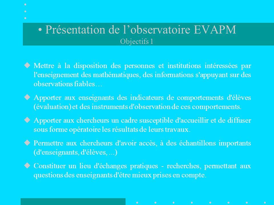 Présentation de l'observatoire EVAPM Objectifs 1