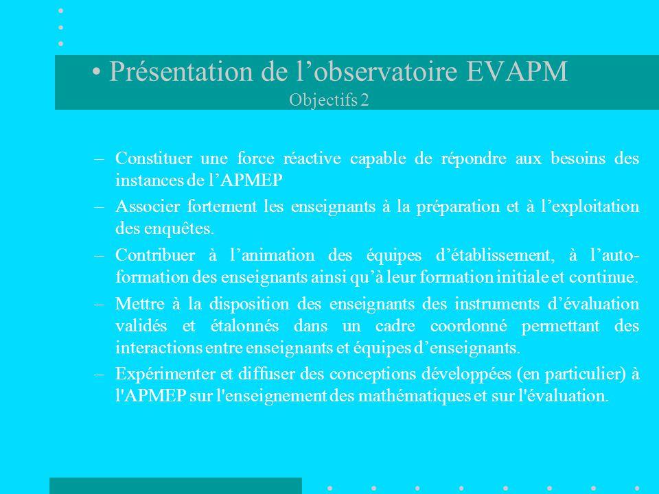 Présentation de l'observatoire EVAPM Objectifs 2