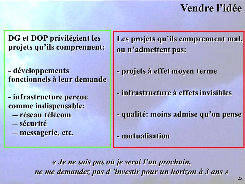 Vendre l'idée DG et DOP privilégient les projets qu'ils comprennent:
