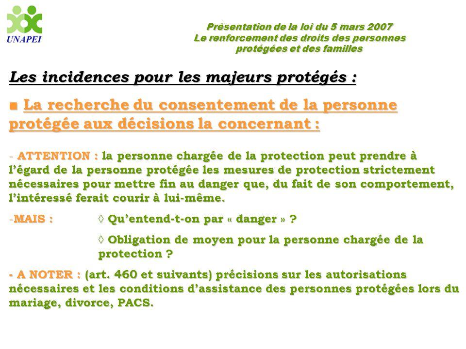 Les incidences pour les majeurs protégés :