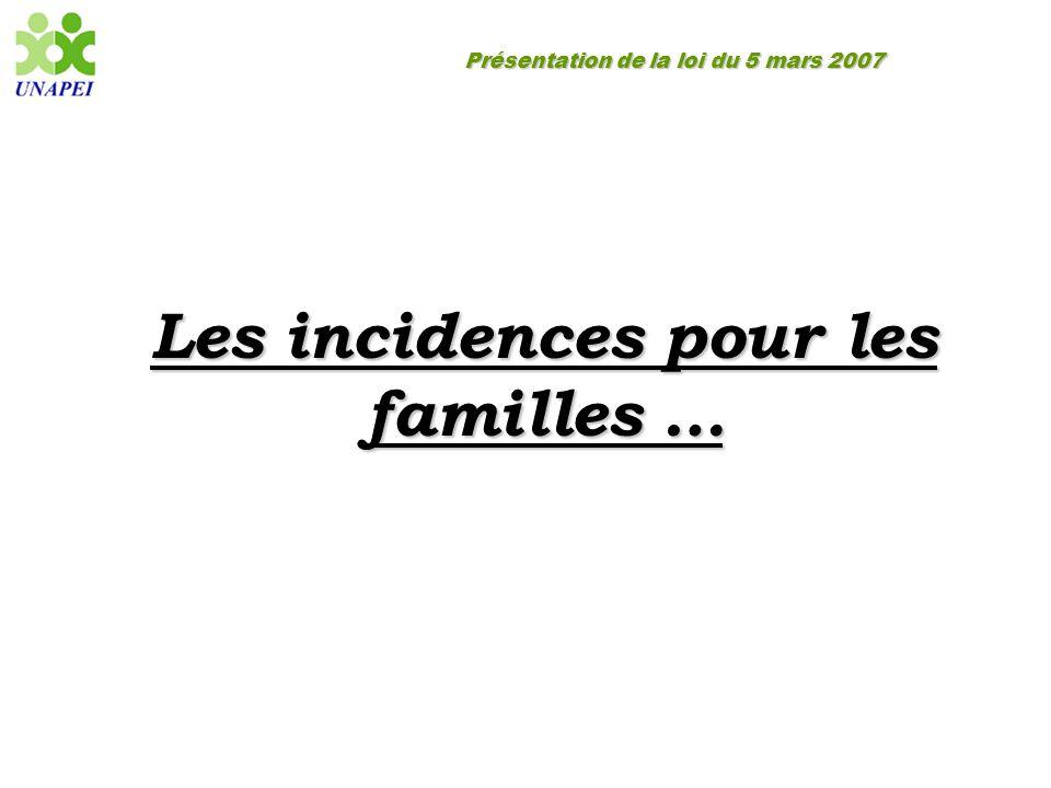 Les incidences pour les familles …