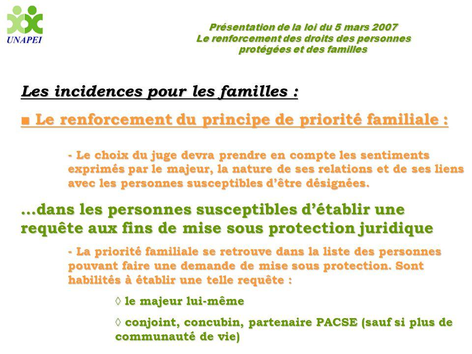 Les incidences pour les familles :