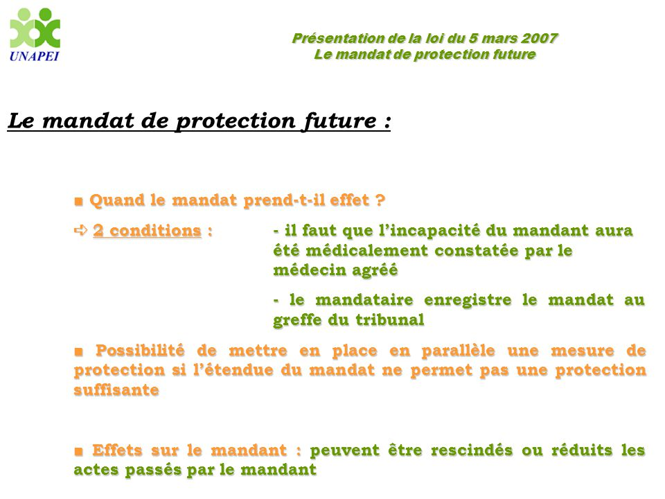 Le mandat de protection future :
