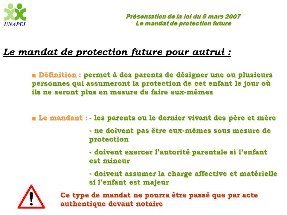 Le mandat de protection future pour autrui :