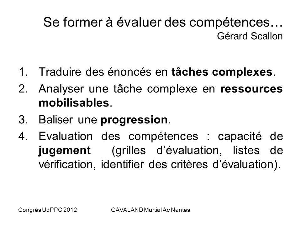 Se former à évaluer des compétences… Gérard Scallon