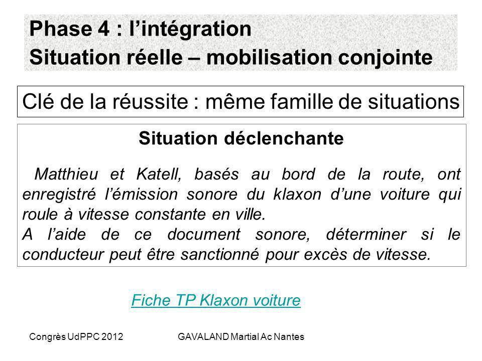Phase 4 : l'intégration Situation réelle – mobilisation conjointe