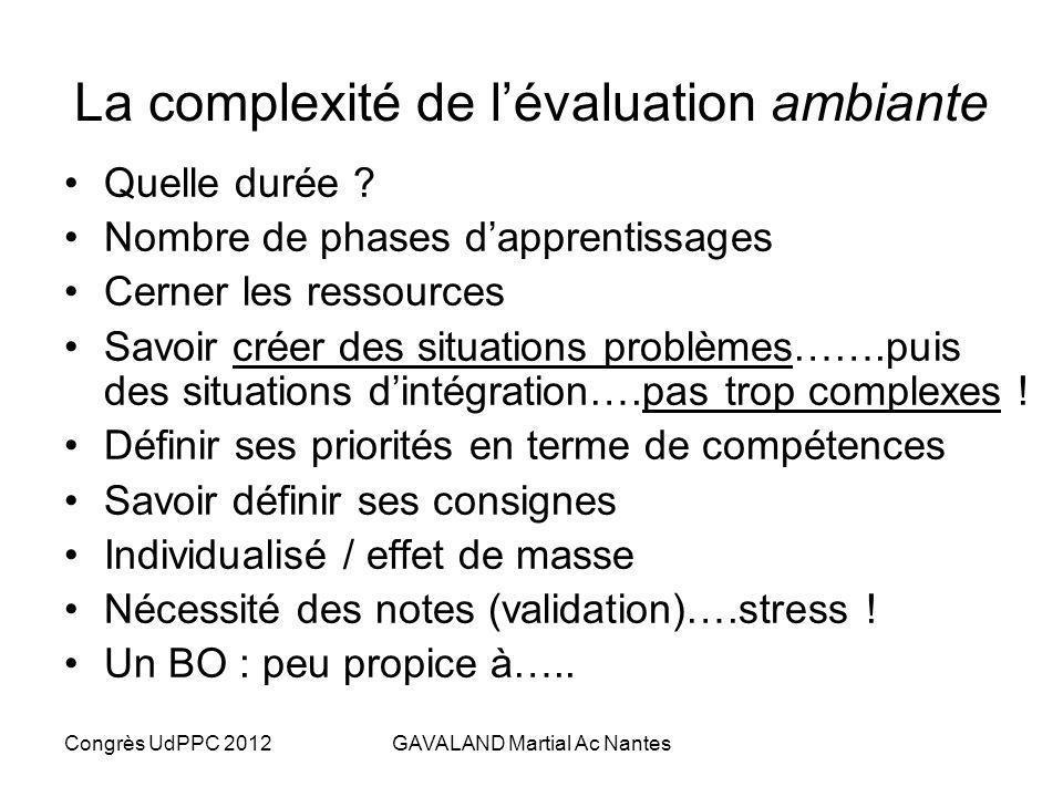 La complexité de l'évaluation ambiante
