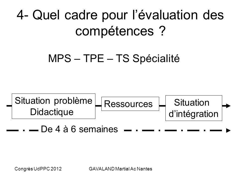 4- Quel cadre pour l'évaluation des compétences