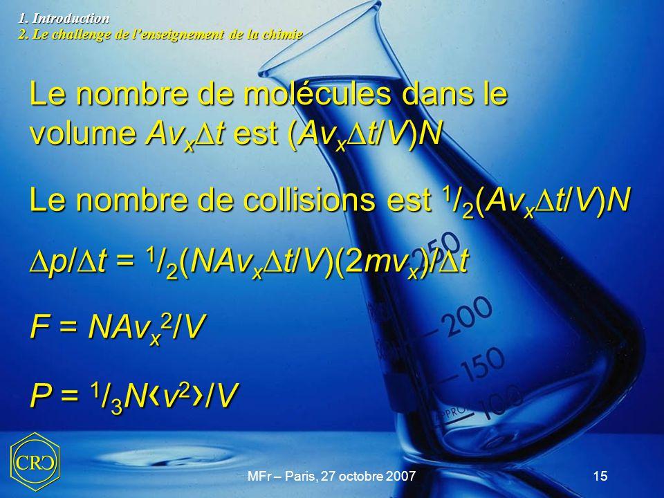 Le nombre de molécules dans le volume AvxDt est (AvxDt/V)N