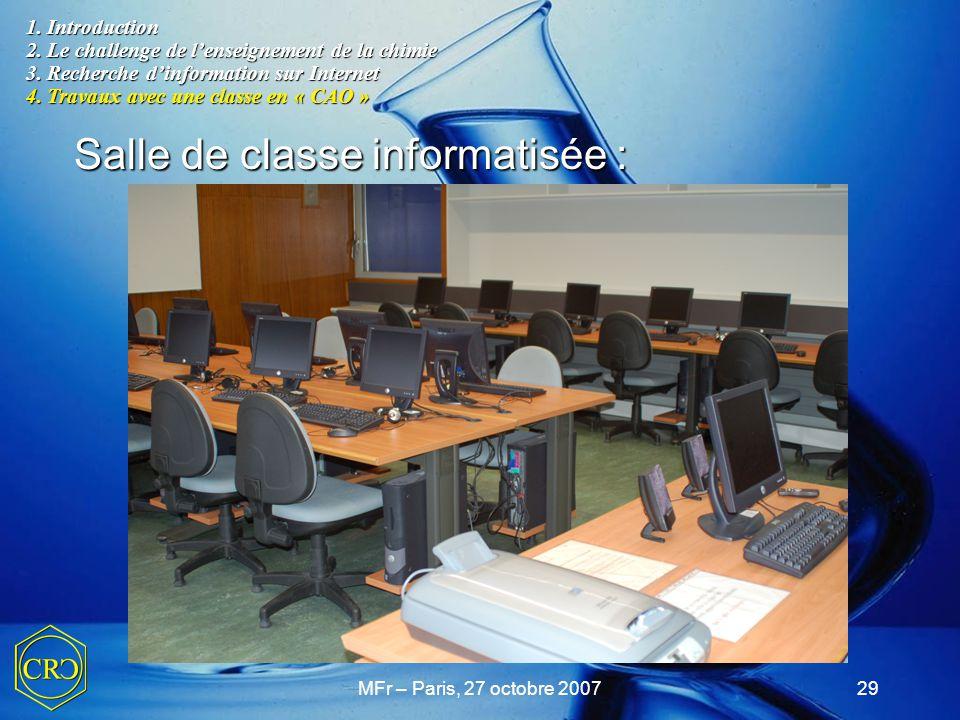 Salle de classe informatisée :