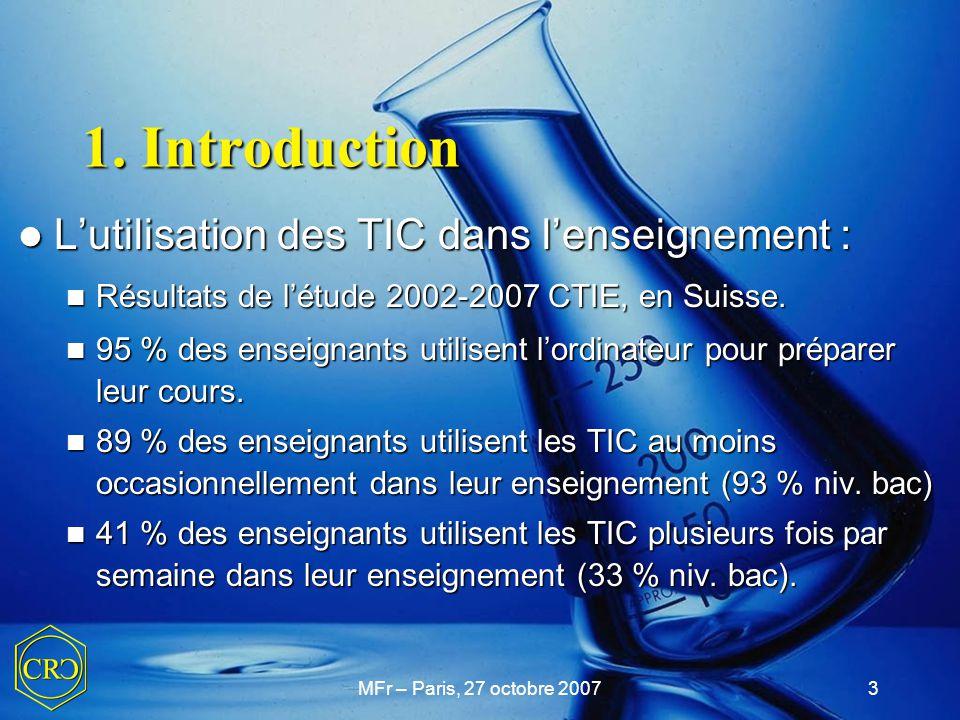 1. Introduction L'utilisation des TIC dans l'enseignement :