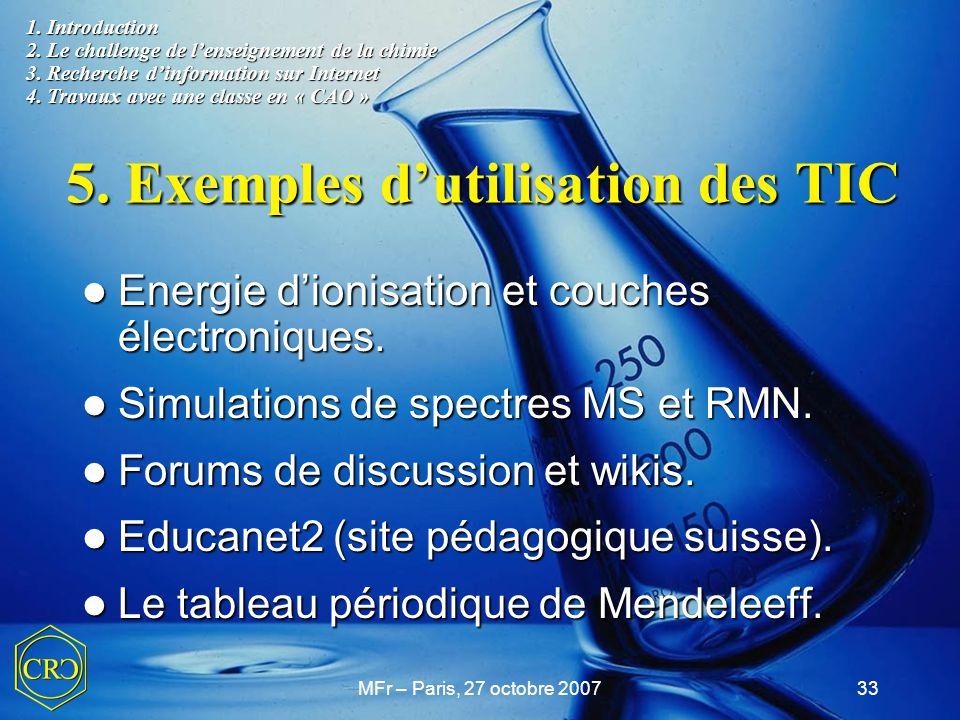 5. Exemples d'utilisation des TIC