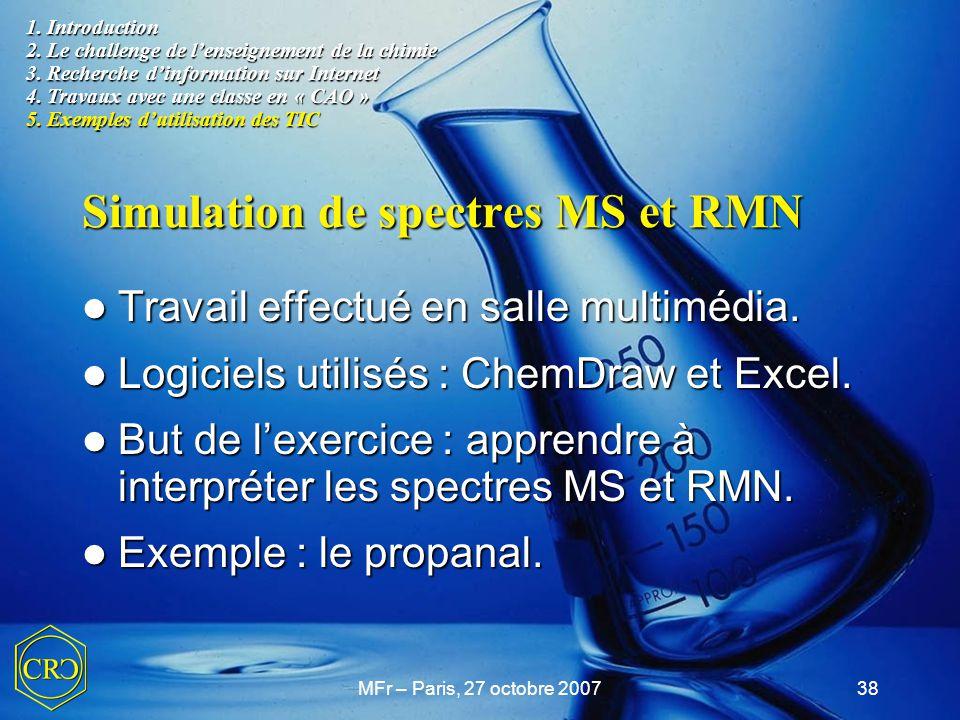 Simulation de spectres MS et RMN