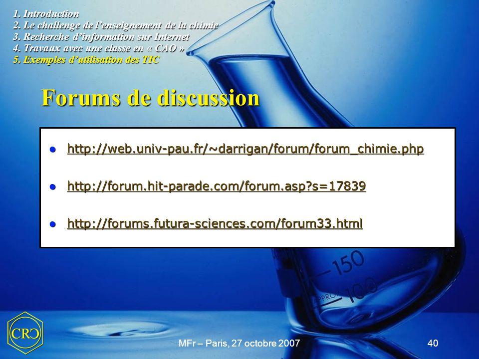 1. Introduction 2. Le challenge de l'enseignement de la chimie 3