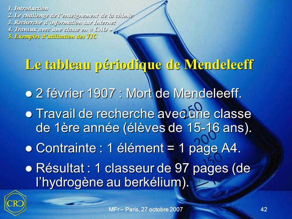 Le tableau périodique de Mendeleeff