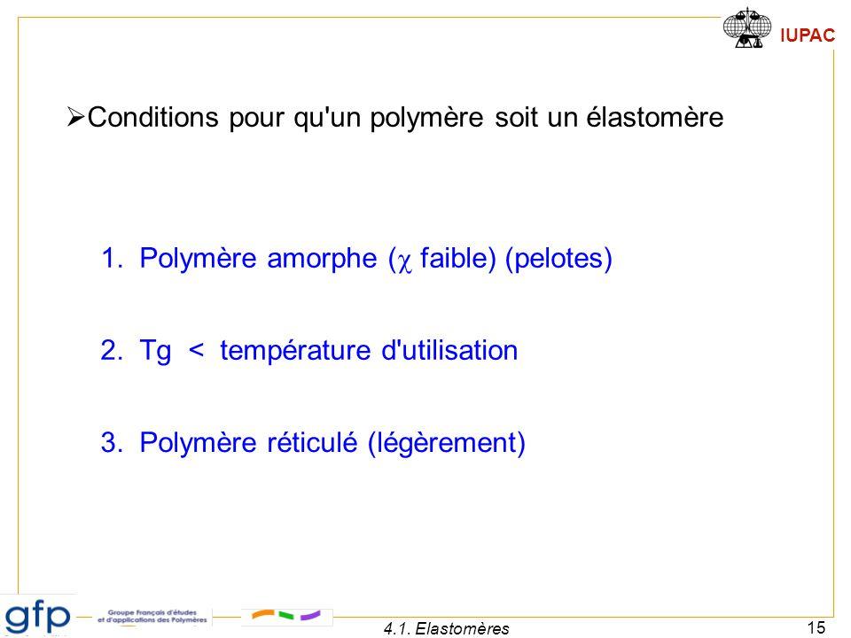 Conditions pour qu un polymère soit un élastomère